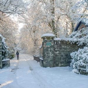 Grey Abbey entrance in snow