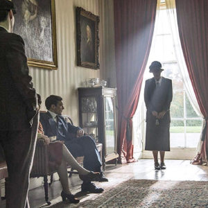 Ruth Bradley with other cast members in Agatha and the Truth of Murder at Grey Abbey House