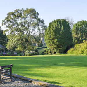 Grey Abbey garden with bench